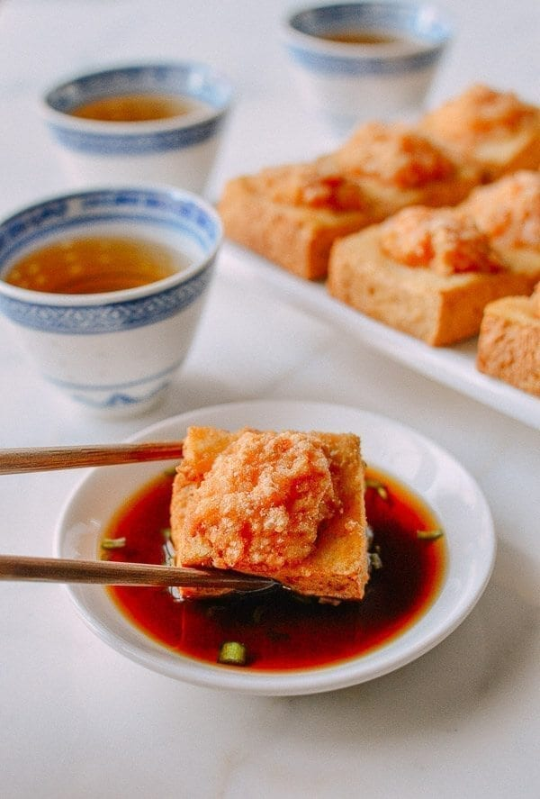 Crispy Skin Stuffed Tofu, A Chinatown Favorite, by thewoksoflife.com