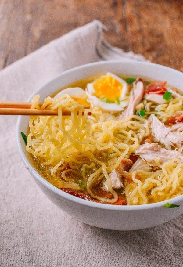 Leftover Thanksgiving Turkey Ramen, by thewoksoflife.com