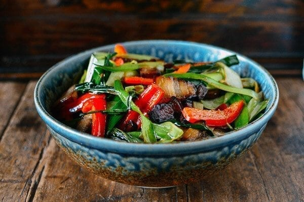 Cured Pork Belly Stir-fry with Leeks, by thewoksoflife.com