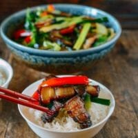 Cured Pork Belly Stir-fry with Leeks