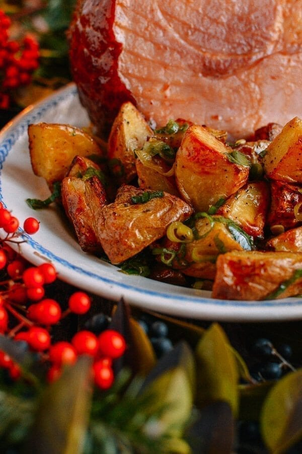 Plum Sauce Glazed Ham with Soy & Scallion Butter Roasted Potatoes