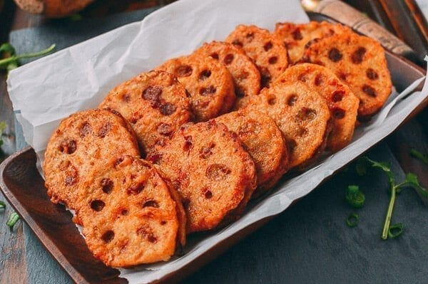 Crispy Stuffed Lotus Root with Pork, by thewoksoflife.com
