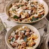 Winter Pasta with Mushrooms, Sausage Meatballs, Walnuts & Crispy Sage