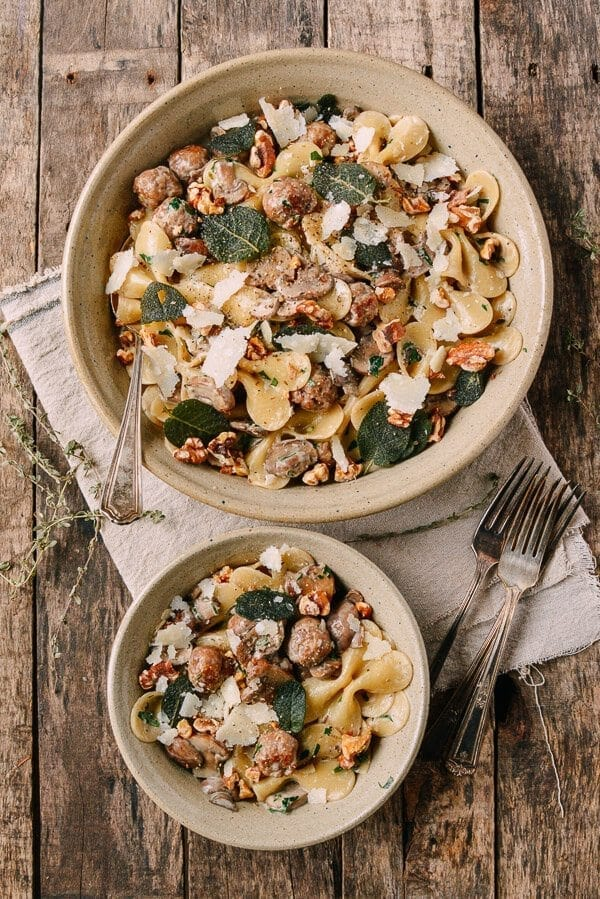 Winter Pasta with Mushrooms, Sausage Meatballs, Walnuts & Crispy Sage, by thewoksoflife.com