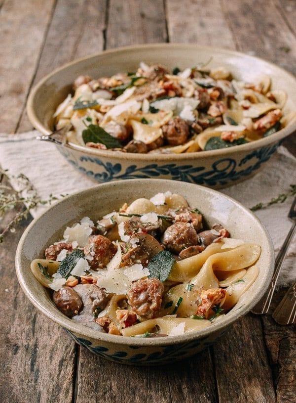 Winter Pasta with Mushrooms, Sausage Meatballs, Walnuts & Crispy Sage, by thewoksoflife.com