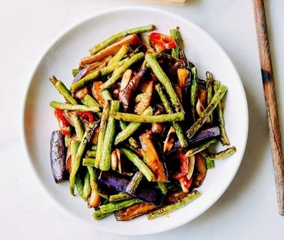Chinese vegetarian recipes the woks of life our featured chinese vegetarian dish eggplant string bean stir fry forumfinder Choice Image