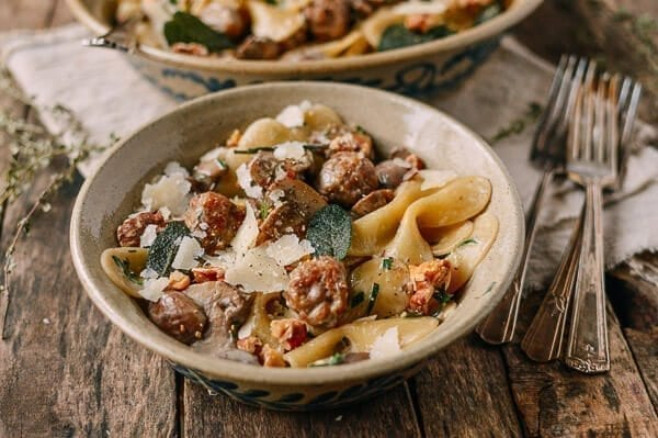 Winter pasta with sausage meatballs, sage, and parmesan