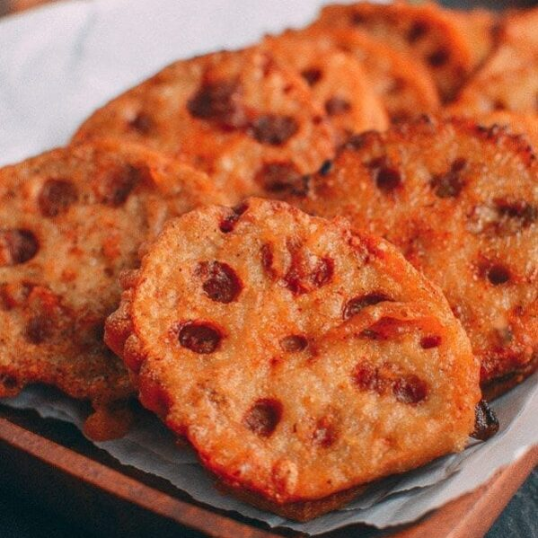 Fried stuffed lotus root