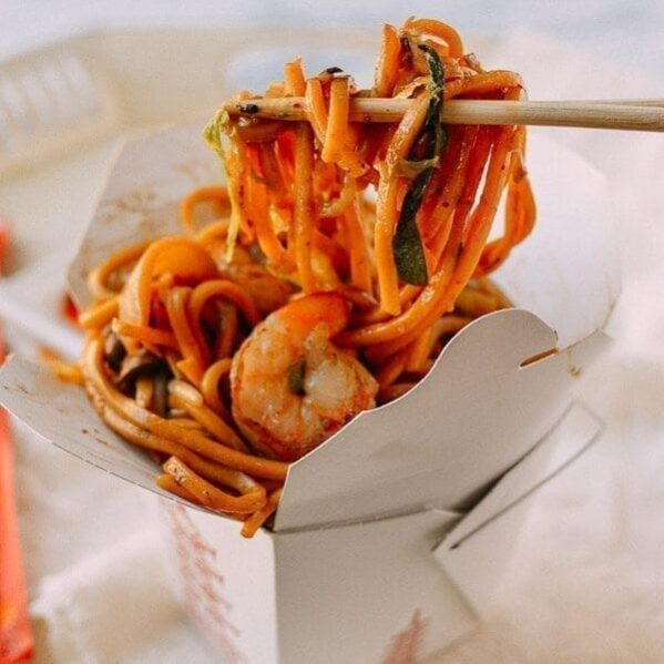 Shrimp lo mein in takeout container