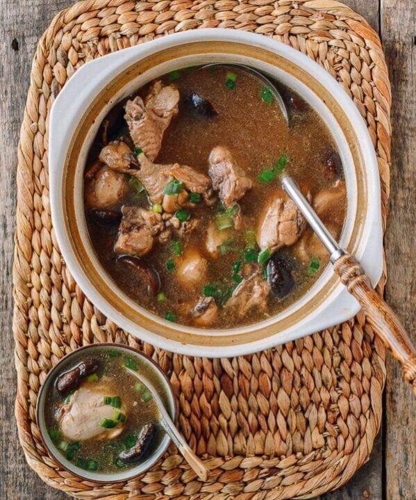 Chinese Chicken Mushroom Soup, by thewoksoflife.com
