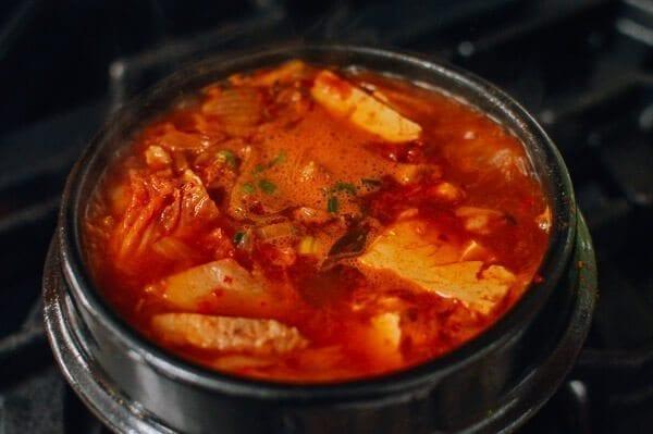 Kimchi stew on stove