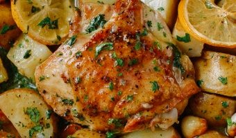 Roasted Lemon Chicken Thighs with Potatoes, by thewoksoflife.com