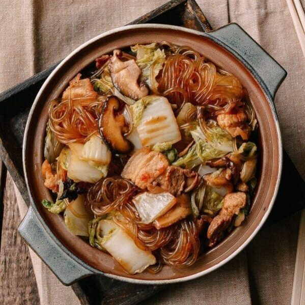 Glass noodles with pork, mushrooms, and cabbage