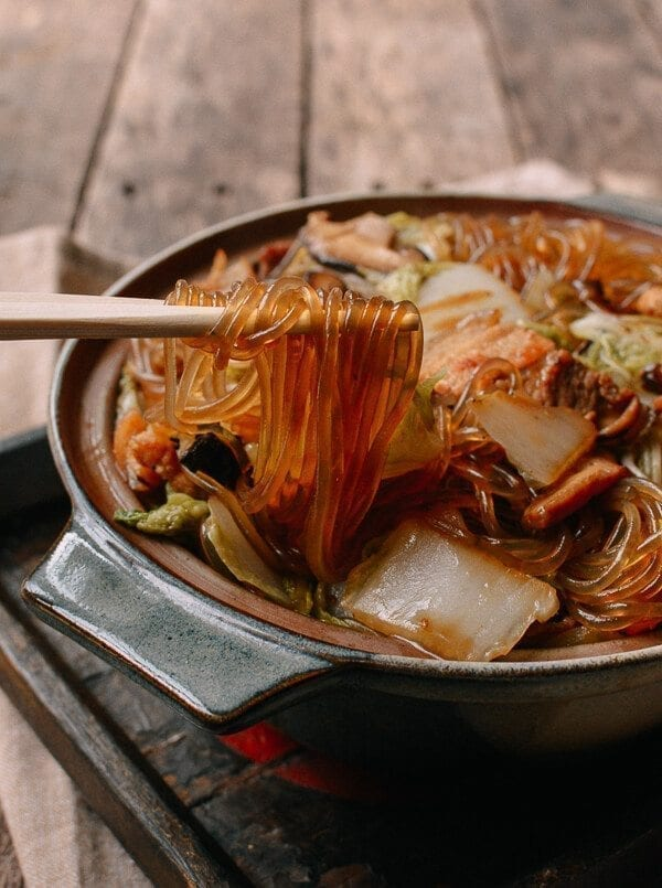 Braised Glass Noodles with Pork & Napa Cabbage, by thewoksoflife.com