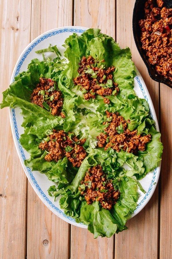 Chicken Lettuce Wraps, A Healthy Low Carb Favorite, by thewoksoflife.com