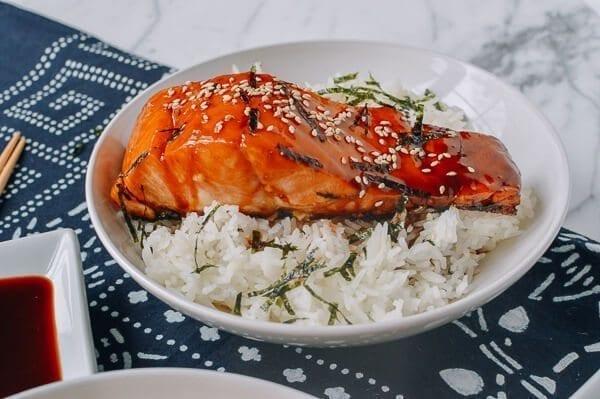 Salmon Teriyaki Bowls, by thewoksoflife.com