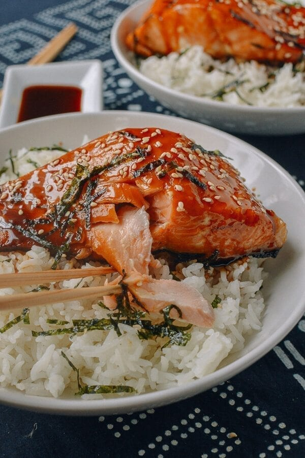 Salmon Teriyaki Bowls, by thewoksoflife.com