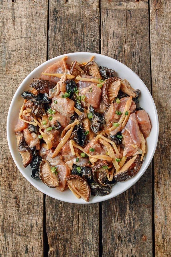 Steamed Chicken with Mushrooms & Dried Lily Flowers, by thewoksoflife.com