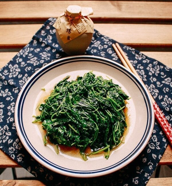 plate of Sautéed Edible Clover (Chao Tou - 炒头), by thewoksoflife.com