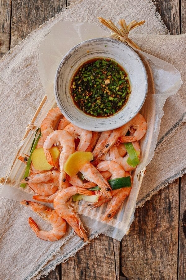 Chinese Boiled Shrimp With Ginger Scallion Sauce The Woks Of Life