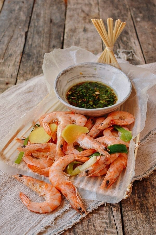 Chinese Boiled Shrimp with Ginger Scallion Dipping Sauce, by thewoksoflife.com