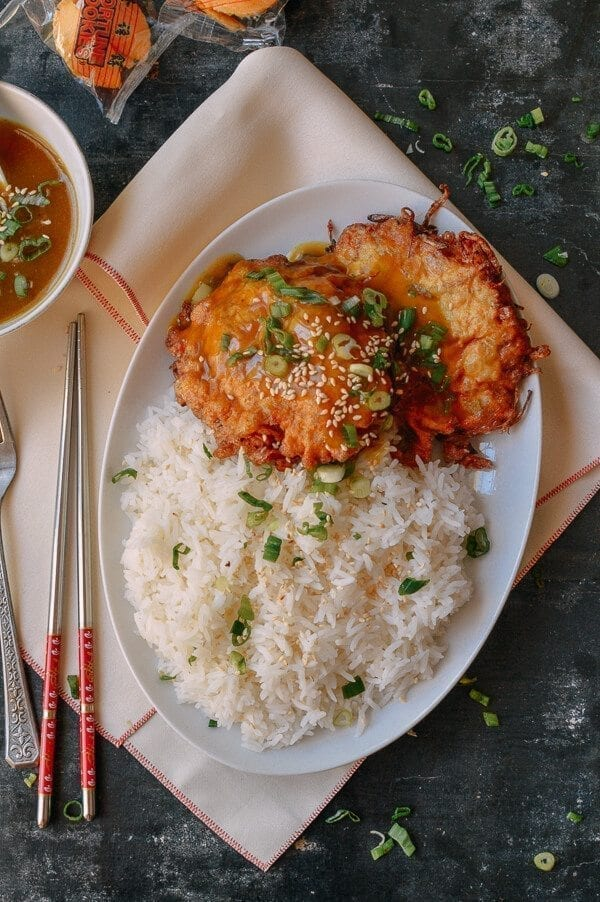 Chicken Egg Foo Young Rice Plate, thewoksoflife.com