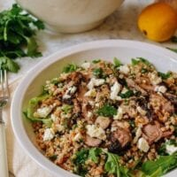Farro Salad with Grilled Turkey, Lemon, Herbs & Feta, by thewoksoflife.com