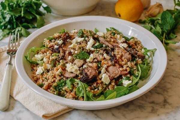 Farro Salad with Grilled Turkey, Lemon, Herbs & Feta, by thewoksoflife.com