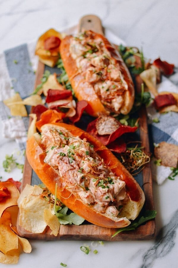 Lobster Rolls with Crispy Ginger & Scallions, by thewoksoflife.com