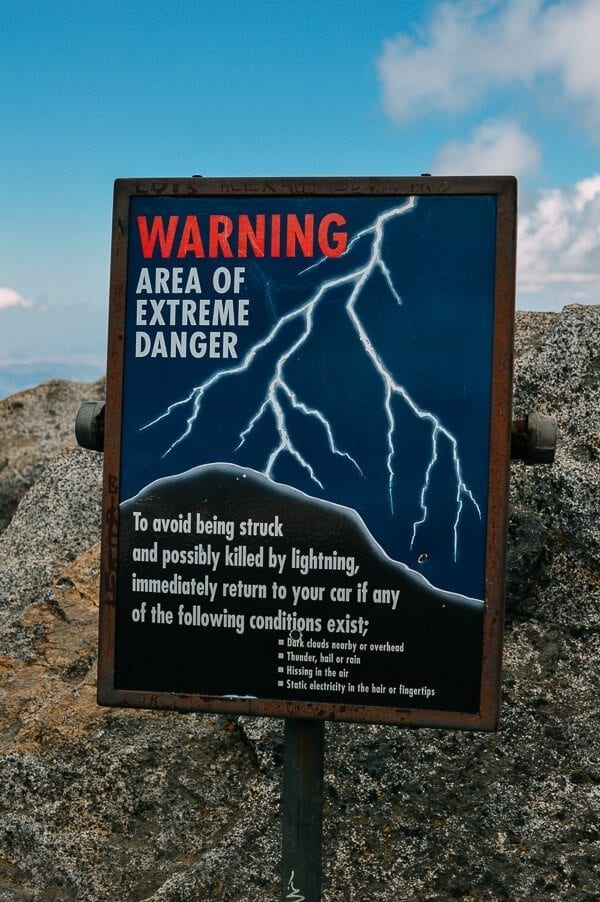 Moro Rock Warning