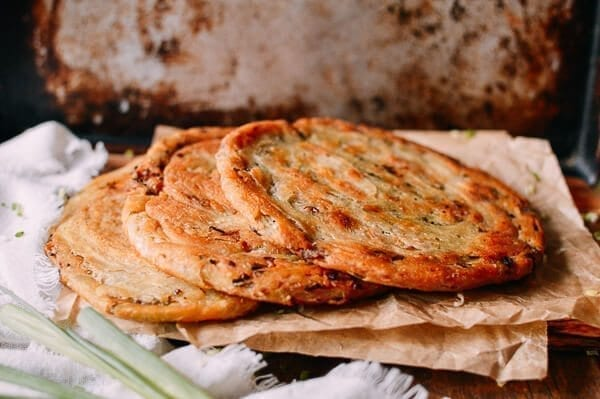 Shanghai Scallion Pancakes, on paper, by thewoksoflife.com