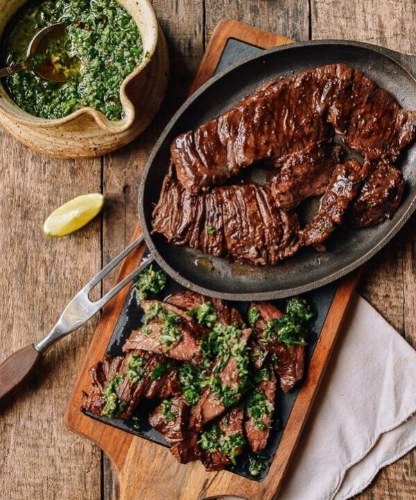 Grilled Skirt Steak with Chimichurri, by thewoksoflife.com