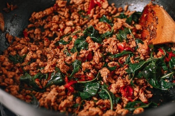 Thai Basil Chicken (Easy Gai Pad Krapow), by thewoksoflife.com
