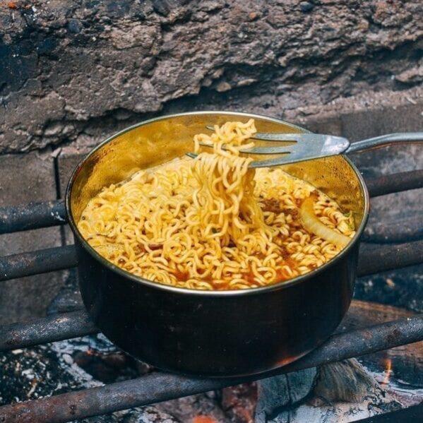 Curry Ramen Noodles over campfire