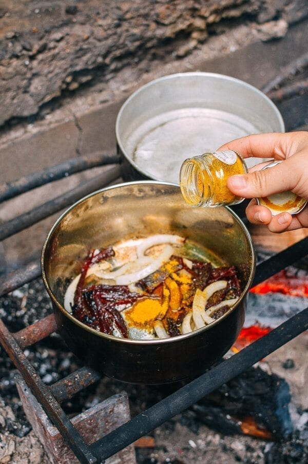Campfire Curry Ramen - Easy Camping Meal, by thewoksoflife.com