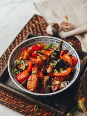 Di San Xian (Eggplant, Potato & Pepper Stir-fry), by thewoksoflife.com
