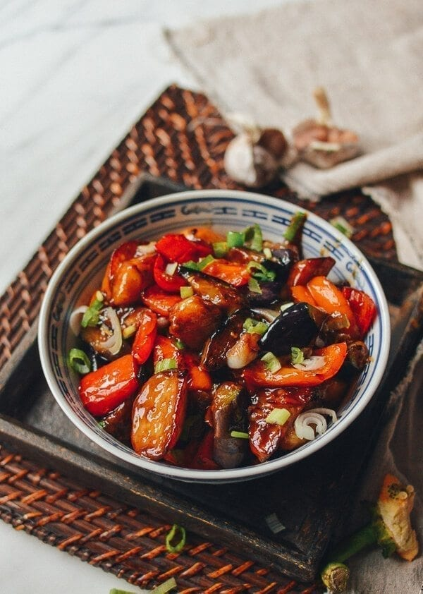 Chinese Vegan Recipes - Di San Xian (Eggplant, Potato & Pepper Stir-fry), by thewoksoflife.com