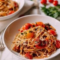 Roasted Cherry Tomato Pasta Puttanesca, by thewoksoflife.com