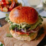 Salmon burgers with green goddess sauce