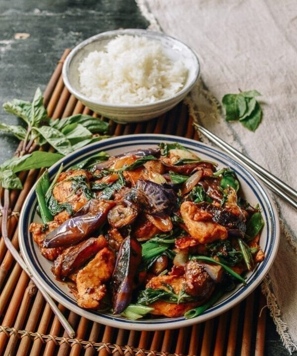 Japanese Eggplant Stir-fry with Chicken & Basil, by thewoksoflife.com