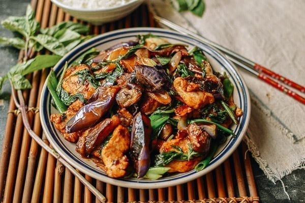 Thai Eggplant Stir-fry with Chicken & Basil, by thewoksoflife.com
