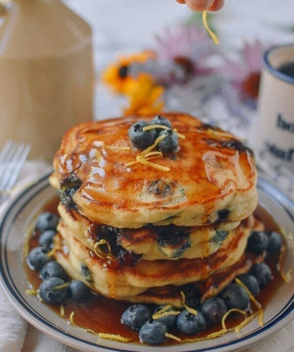 Best Blueberry Pancakes, by thewoksoflife.com