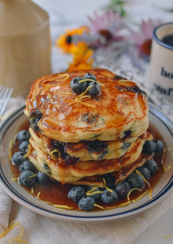 Blueberry Pancakes, by thewoksoflife.com
