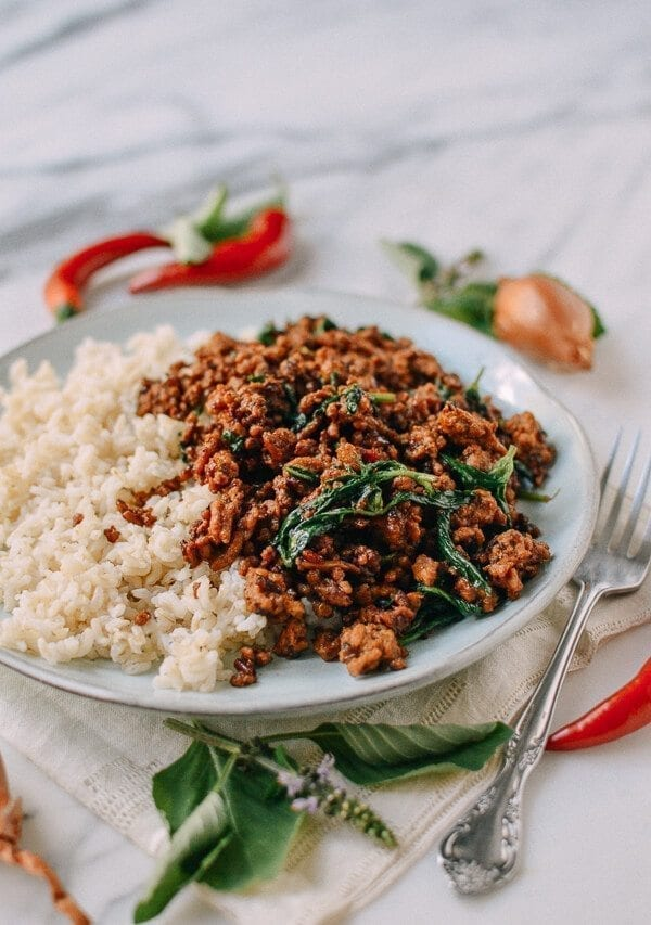 Pork and Holy Basil Stir-fry (Pad Kra Pao), by thewoksoflife.com