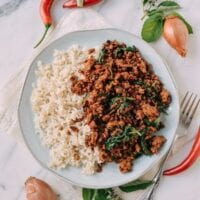 Pork and Holy Basil Stir-fry (Pad Kra Pao), by thewoksoflife.com