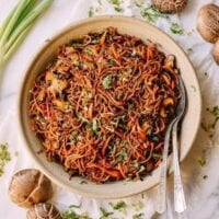 Caramelized Soy Sauce Noodles with Sweet Potato & Mushrooms