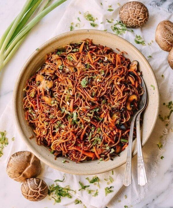 Caramelized Soy Sauce Noodles with Sweet Potato & Mushrooms, by thewoksoflife.com