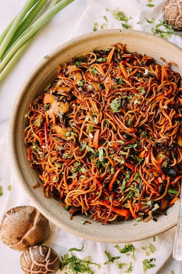 Caramelized Soy Sauce Noodles with Sweet Potato & Mushrooms, by thewoksoflife.com