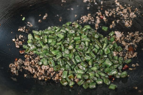 Stir-Fried Green Beans with Pork and Chinese Olive Vegetable, by thewoksoflife.com