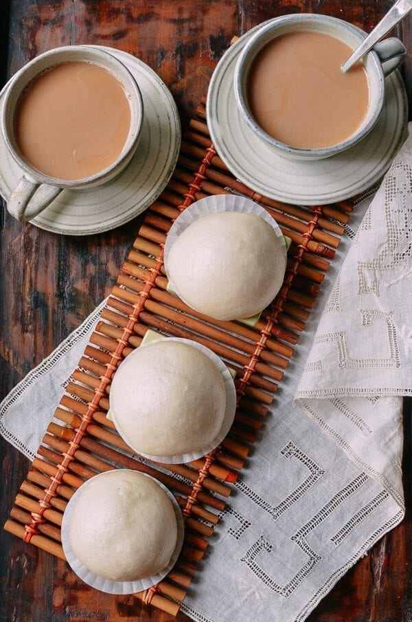 Cantonese Steamed Custard Buns (Nai Wong Bao), by thewoksoflife.com